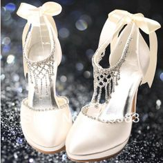 Crystal Rhinestone Chain Bridal Shoes Ribbon Wedding Pumps