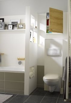 Makeup is one of those tricky things that allows a person to look better or worse. Attic Bathroom, Bathroom Toilets, Bathroom Wall, Small Bathroom, Bad Inspiration, Bathroom Inspiration, Wc Design, Modern Design, Bathroom Partitions