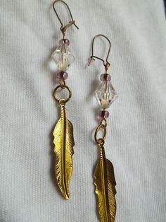 Golden Feather Earrings by BackyardBeader on Etsy, $10.00