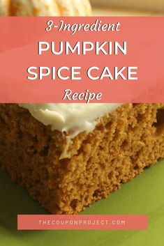 This super easy Pumpkin Spice Cake recipe uses just three ingredients to make a delicious treat for fall or any time you're jonesin' for pumpkin spice. Spice Cake Mix Recipes, Pumpkin Cake Recipes, Pumpkin Dessert, Pumpkin Bread, Cake Mix Cookies, Cookies Et Biscuits, Baking Recipes, Dessert Recipes, Baking Desserts