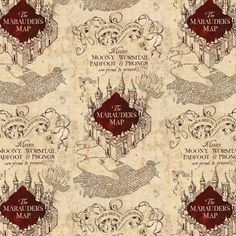 Rowling's magical Wizarding World of Harry Potter with this cream Marauders map fabric. This is a beautiful fabric that will thrill any Harry Potter fan. This is a licensed product. Tricot Harry Potter, Cover Harry Potter, Harry Potter Fabric, Harry Potter Marauders Map, The Marauders, Map Fabric, Fabric Panels, Fabric Sewing, Quilting Fabric