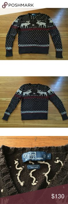 NWOT Brown Reindeer Holiday Christmas Sweater Purchased NWOT from eBay in 2013 but did not fit my boyfriend (he normally wears XS). Has been in storage since then.  Bottom length: ~16 inches Armpit to sleeve: 19 inches Height: 24 inches Shoulder-to-shoulder: 18 inches Polo by Ralph Lauren Sweaters V-Neck