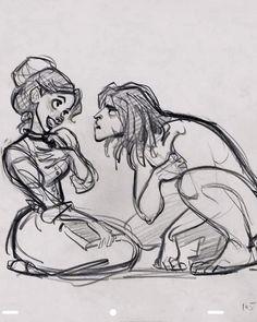 Tarzan and Jane sketches by Glen Keane → Final film
