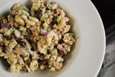 Tuna Pasta Salad Recipe – 5 Points   - LaaLoosh - yum, yum :) :)  I 1/2 the recipes, omitted the onions, added frozen peas and used dry dill :)    @Trenton Ashburn Temple -- check this out :)
