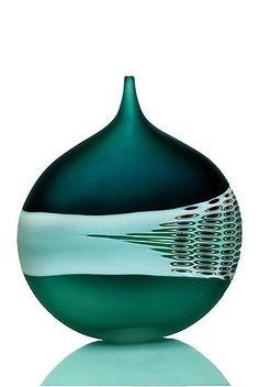 Carved Green Bottle: David Royce: Art Glass Vessel - Artful Home