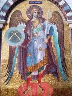 Byzantine Icons, Byzantine Art, Angel Warrior, Mosaic Artwork, Christian Symbols, Saint Michel, Archangel Michael, Religious Icons, Dream Art