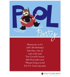 Underwater Fun Party Invitation: Our adventurous party goer surfaces to join in the festivities on this Underwater Fun party invitation. It is shown in shades of blue, red, white, black, and brown.