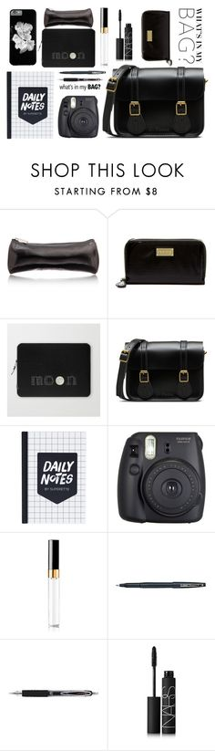 In My Bag by by-jwp on Polyvore featuring Dr. Martens, Steve Madden, Chanel, NARS Cosmetics, Japonesque, Uni-ball, Pentel, Fuji and inmybag