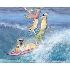 Labrador dog 5x7 8x10 11x14 art print surfing dog golden retriever yellow lab cool surf dudes cocktail from Susan Alison watercolor painting