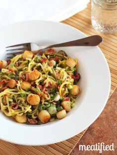 Zucchini Noodles with Scallops & Bacon {AIP}