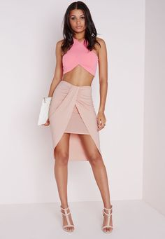 Missguided - Wrap Jersey Midi Skirt Nude