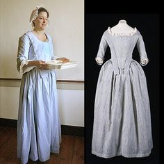 "This unadorned but interesting gown is the type worn by servants and the lower classes, or by middle class women for informal daywear. This one-piece style with closed skirts is called a ""round gown,"" which was put on over the head. The apron-front skirt tied around the waist, and when the bodice was settled on and fastened, no separation (except for slits in the side-front skirts of the 'apron') would be evident."