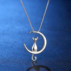 Bijoux – Tendance : ANEWISH Fine Jewelry Moon cat Pendant Necklace Sterling Silver perfect Gift for Fashion Women Girl Star Jewelry, Fine Jewelry, Jewelry Necklaces, Diamond Jewelry, Gold Jewellery, Gemstone Jewelry, Fashion Necklace, Fashion Jewelry, Women Jewelry