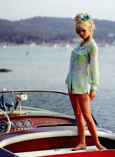 Brigitte Bardot aboard a Riva Super Florida in Saint-Tropez