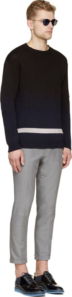 Marni Black & Navy Degrade Stripe Knit Sweater