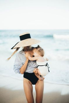 Mom and baby at the beach