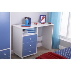 Wooden Writing Desk Children Blue White 3 Drawers Study Table Bedroom Furniture
