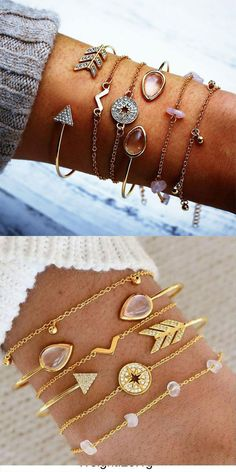 Unique Compass Crushed Stone V type Arrow Six-piece Open Women Bracelet #bracelet