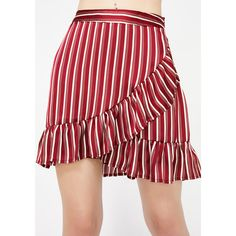 Striped Ruffled Mini Skirt ($20) ❤ liked on Polyvore featuring skirts, mini skirts and cotton candy skirt