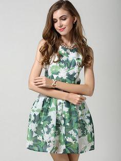 Green Floral High Waist Sleeveless Skater Dress | Choies