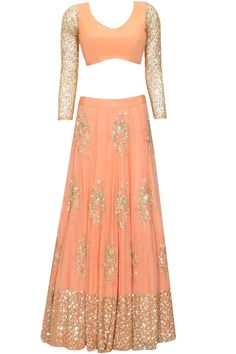 Coral and gold floral sequins embroidered lehenga set available only at Pernia's Pop Up Shop.#perniaspopupshop #shopnow #newcollection  #asthanarang #festive #designer #clothing