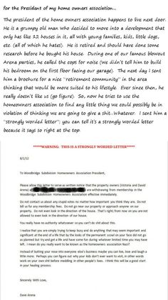 Strongly Worded Letter to the Homeowner's Association Nazi