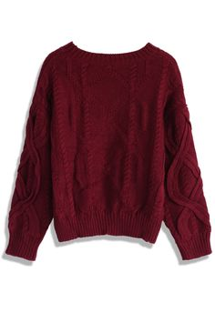 Puffy Cable Knit Sweater in Wine