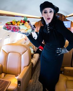 This photo makes us SO happy. It's our beautiful hostess with the mostess @thekatvond getting fruity on our #HVT 9th anniversary trip. [photo by @ndrewstuart]