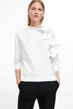 COS image 2 of Rounded drape blouse in White