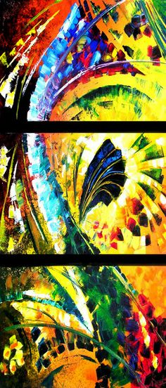 abstract art painting on 3 canvases http://www.artyou.com/item/29 #abstract #art #oil #painting