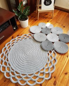 Image May Contain: Indoor - Diy Crafts Crochet Rug Patterns, Granny Square Crochet Pattern, Crochet Doilies, Crochet Carpet, Crochet Home, Diy Carpet, Rugs On Carpet, Cotton Cord, Fabric Rug