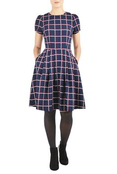 I <3 this Windowpane check fit-and-flare dress from eShakti