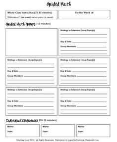 Guided Math Lesson Plan Template Awesome the Real Teachr Strategy Grouping Template for Reading Math Lesson Plans, Lesson Plan Templates, Math Lessons, Reading Lessons, Lessons Learned, Daily 3 Math, Daily 5, Guided Math Groups, Reading Groups