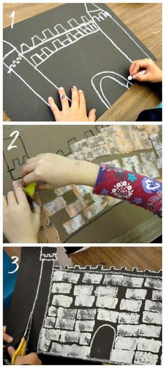 """Castle art project: Draw a castle outline with chalk or crayon. Use a small rectangular piece of sponge to dab on the """"stones."""" Add construction paper details such as banners, windows, doors."""