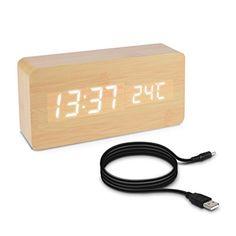 Der Holzwecker mit Digital Uhr, Temperaturanzeige, Geräuschaktivierung und Tastaktivierung ist ein stilvolles und praktisches Geschenk für den Nachttisch. Dieser Holzwecke rpasst in jedes Schlafzimmern.