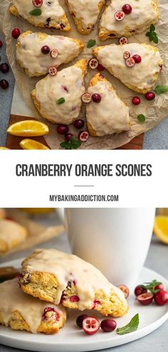 Tart cranberries and sweet oranges come together in these soft and buttery Cranberry Orange Scones drenched in vanilla-orange glaze.