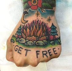 Oldschool campfire tattoo #oldschool #campfire #tattoo #getfree