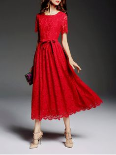 Shop Midi Dresses - Red Short Sleeve Lace Midi Dress online. Discover unique designers fashion at StyleWe.com.