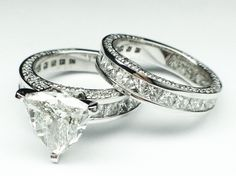 Trillion Diamond Bridal set Engagement Ring and Matching Wedding Ring carat total weight in White Gold. Fits any shape center diamond. Titanium Wedding Rings, Diamond Wedding Rings, Bridal Rings, Diamond Rings, Diamond Engagement Rings, Diamond Jewelry, Diamond Cuts, Wedding Bands, Do It Yourself Fashion