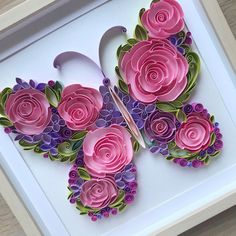 Excited to share this item from my shop: Quilling Art - Quilling flowers butterfly - Quilling Paper Art - Framed floral butterfly - Handcrafted original design wall art Paper Quilling Cards, Quilling Work, Paper Quilling Flowers, Paper Quilling Patterns, Quilled Paper Art, Quilling Craft, Paper Butterflies, Neli Quilling, Diy Paper