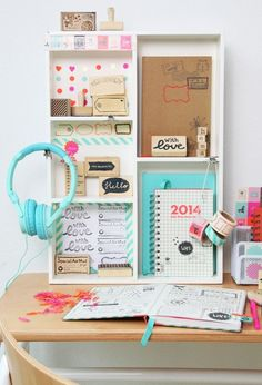 Diy desk organization decor craft storage Ideas - Image 17 of 23 Desk Organization Diy, Diy Desk, Office Storage, Organizing Ideas, Desk Storage, Teen Girl Bedrooms, Teen Bedroom, Diy Décoration, Home And Deco