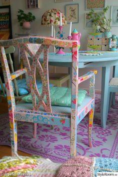 tapetserad stol,tapetserad möbel,retrotapet,diy,pyssel
