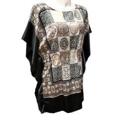 Alis Boutique: Blusón de fiesta en satén estampado y negro. ¿Nos vamos de fiesta? #tallasgrandes #modafiesta #xxl