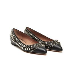 Red Valentino Leather Studded Flats
