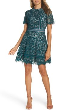BB Dakota On List Short Sleeve Lace Fit & Flare Dress | Nordstrom