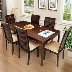 Wooden Dining Table Designs, Dinning Table Design, Wooden Dining Set, Cheap Kitchen Table Sets, Cheap Dining Room Sets, Dining Sets, Round Dining, 6 Seater Dining Table, Dining Table Chairs