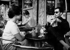 """B. Schneider et J.-L. Godard dans """"Paris nous appartient"""", Jacques Rivette, 1958"""