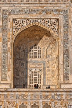architectural details, Taj Mahal, Agra, Uttar Pradesh, India.  Photo: Michael Maniezzo via Flickr