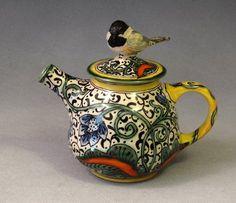 Deb Kuzyk & Ray Mackie at Lucky Rabbit Pottery   chickadee teapot