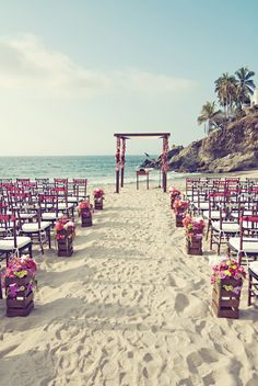 I am having a destination wedding! Just like this!! Modern vintage wedding ceremony decor.